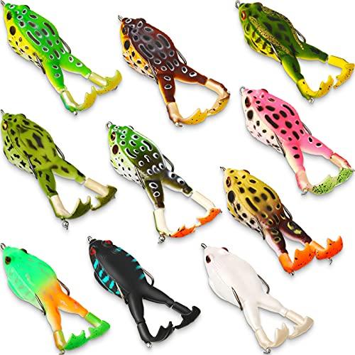 Leitee 10 Pieces Topwater Frog Lure Floating Weedless Fishing Lure Double Propeller Frog Lure Soft Bait Swimbait Floating Bait Crankbait Set for Bass Snakehead Catfish Freshwater Saltwater Fishing
