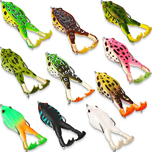 Leitee 10 Pieces Topwater Frog Lure Floating Weedless Fishing Lure...