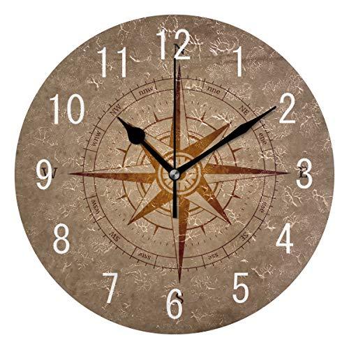 Use7 Wanduhr, rund, Acryl, Retro-Stil, Marineblau, mit Kompass, geräuschlos, für Wohnzimmer, Küche, Schlafzimmer