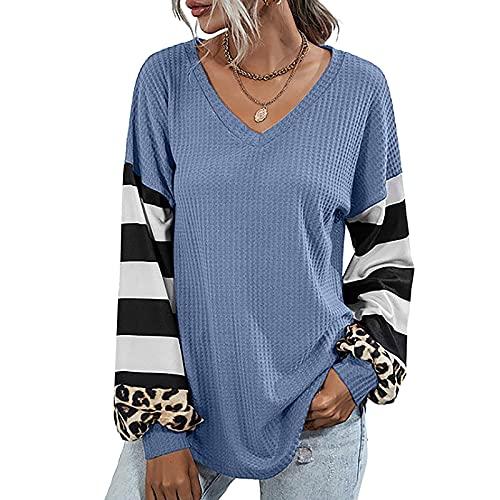 Moda Camisas Mujer de Manga Larga Gofre Color Sólido Camiseta Mujer de Rayas Patchwork Leopardo Camisas de...