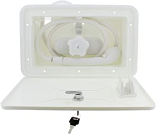 Empire Faucets RV Exterior Shower Box Kit White RV Outdoor Shower Faucet, Shower Valve and Camper Shower Head and Hose