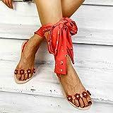 Sandalias Planas Verano Mujer Estilo Bohemio Plano Sandalias con strass Elegantes Flip Flop Playa Moda Chanclas Talla 35-43,Rojo,41