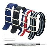 MEGALITH Bracelet de Montre 4 Paquet Bracelet NATO 16mm 18mm 20mm 22mm 24mm Bandes en Nylon Balistique Suisse Zulu...