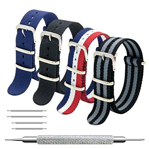MEGALITH Uhrenarmband Packung mit 4 NATO Strap 16mm 18mm 20mm 22mm 24mm Ballistic Nylon Uhr Armband Zulu Uhrband mit Edelstahl Schnalle