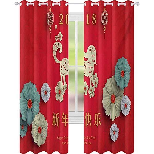 cortinas de la ventana, Arreglo Floral con Far Lunar Calendario Patrón 2018 Año Nuevo, W52 x L84 Cortinas de la ventana para la habitación del bebé, Multicolor