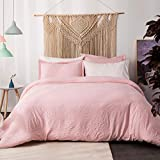 Bedsure Duvet Cover Queen Size Set with Zipper Closure Solid Pink/Peach Full/Queen Size(90x90 inches) - 3 Pieces (1 Duvet Cover + 2 Pillow Shams) Ultra Soft Washed Microfiber