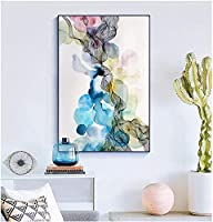 アートワーク絵画30x50cmフレームなし北欧のカラフルなアートキャンバス絵画ポスタープリントリビングルームモーデンの家の装飾のための抽象的な線画