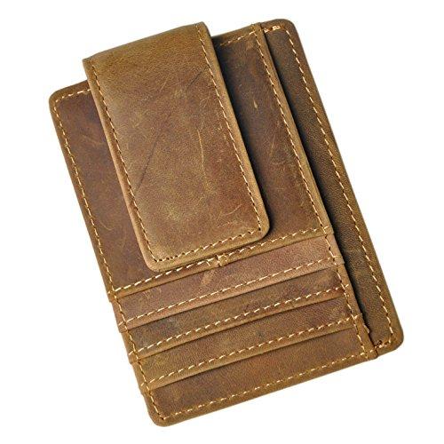 Price comparison product image Le'aokuu Genuine Leather Magnet Money Clip Credit Card Case Holder Slim Handy Wallet (Light Brown)