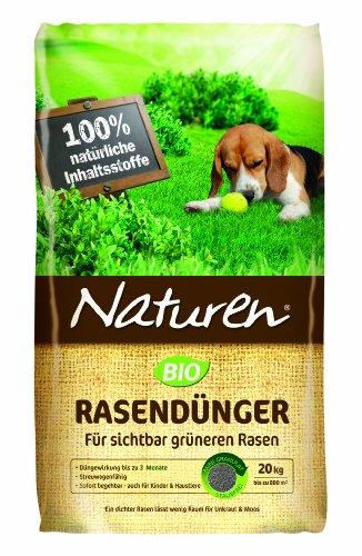 Naturen Bio Rasendünger - Organischer Volldünger mit natürlicher Langzeitwirkung für Sport,- Spiel - und Zierrasen - 20 kg für 500 m²