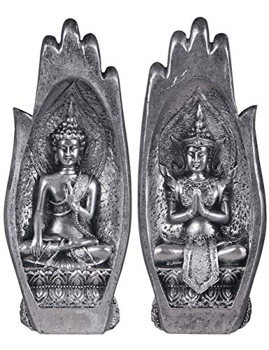 NBHUZEHUA Buddha Statues Sitting in Hand Resin Thailand Buddhist Figurines Home Decor Zen Silver