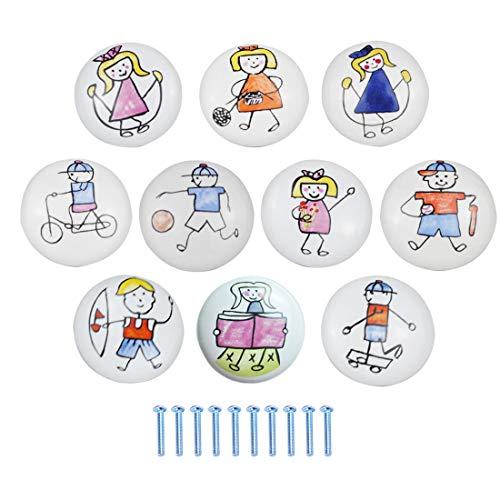 Batop 10Pcs Möbelknöpfe Kinderzimmer, Karikatur Keramik Schrankknöpfe Türknopf, handbemalt, für Schranktüren Schubladen kinderzimmer