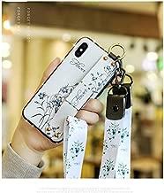 """SevenpandaケースiPhone 7 Plus キャンバス布花 フローラルバックフレキシブルTPU iPhone 8 Plus 5.5""""ケースフレーム保護する 女の子女性たち 保有者場合キックスタンド付き+取り外し可能なリストストラップ+ネックストラップ耐衝撃 衝撃吸収 カバー、まねる布目柄エンボス 可愛い 面白い クリスタル フラッシュ ケース、耐汚れ 滑り防止 反指紋 反塵 超軽量 カバー - 草を忘れる"""