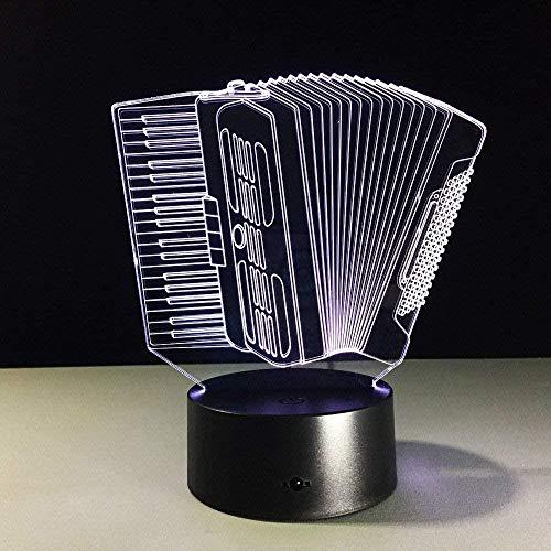 Instrumento de música Acordeón USB Lámpara LED Romántica 7 colores que cambian el estado de ánimo Atmósfera Lámpara Decoración Regalo