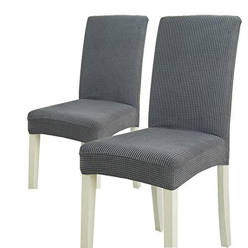 2 fundas elásticas para silla de forro polar para el hogar, color sólido, con patrón de cuadros, multicolor