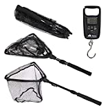Namu Outdoors Telescopic Fishing Net with Fish Scale - Durable Aluminum Alloy Rod with Anti-Sticking Fast Dry Net - Extends to 37 Inches - Fish Landing Net with Fishing Scale - Fly Fishing Net