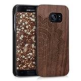 kwmobile Funda Compatible con Samsung Galaxy S7 - Carcasa de Madera - Case Trasero Duro hinduista