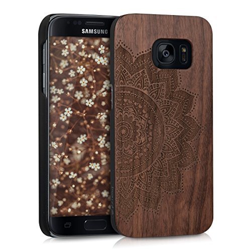 kwmobile Hülle kompatibel mit Samsung Galaxy S7 - Handy Schutzhülle aus Holz - Cover Case Handyhülle Halbblume Dunkelbraun