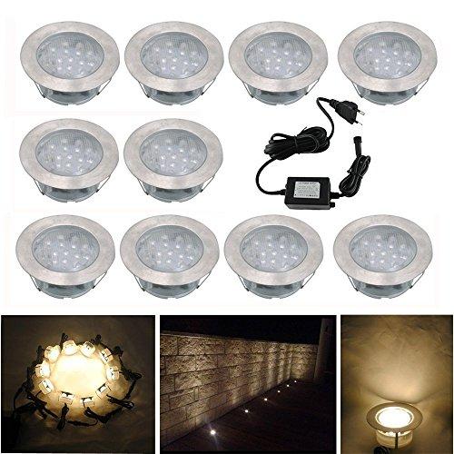 Spot Encastrable LED pour Terrasse,Mini Spot Encastré en DC12V IP67 Etanche Ø60mm Acier Inoxydable Exterieur luminaire,Eclairage pour Jardin,Couloir (Blanc chaud, 10 KIT)