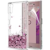 LeYi Hülle Sony Xperia XZ/Xperia XZs Glitzer Handyhülle mit HD Folie Schutzfolie,Cover TPU Bumper Silikon Flüssigkeit Treibsand Clear Schutzhülle für Case Sony Xperia XZ Handy Hüllen ZX Rot Rosegold