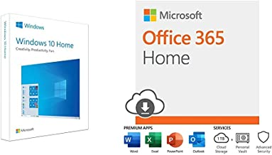 Microsoft Windows 10 Home | USB Flash Drive + Microsoft Office 365 Home with Auto-Renew