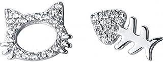 91f2d6827cd9 O YQ S925 Pendientes de Plata con Diamantes Hello Kitty Aretes de Hueso de Pez  Asimétricos Oreja