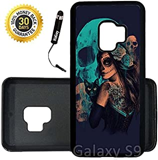 Custom Galaxy S9 Case (Day Of The Dead Women Black Cat And Skull) Edge-to-Edge Rubber Black Cover Ultra Slim | Lightweight | Includes Stylus Pen by Innosub