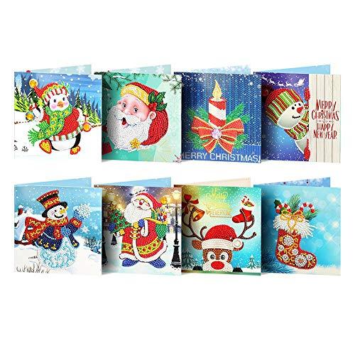 Prosperveil 8 Stück handgefertigte Grußkarten DIY spezielle Form Diamant Malerei Weihnachtskarten Kit mit Blanko Umschläge für Weihnachten, Geburtstag, Kinder, Basteln Style A