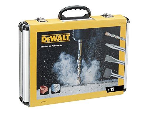 DeWalt DT9679 (Meißel u.Bohrer Set 15-tlg. SDS-plus, 4 x Flachmeißel, 1 x Spitzmeißel, 10 x SDS plus Highperformance Bohrer, inkl. Aluminiumkoffer)