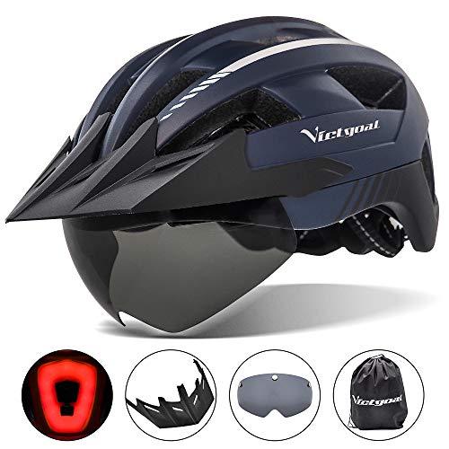 VICTGOAL Fahrradhelm MTB Helm mit Abnehmbarer Magnetische Schutzbrille Visier Atmungsaktiv mit 21 Belüftungskanäle Radhelm für Erwachsene Einstellbare Fahrradhelme (Marine)