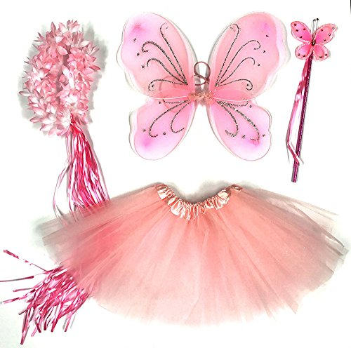 Tante Tina Schmetterling Kostüm Mädchen - 4-teiliges Mädchen Kostüm Schmetterling mit Tüllrock , Flügel , Zauberstab und Haarkranz - Rosa - geeignet für Kinder von 2 bis 8 Jahren