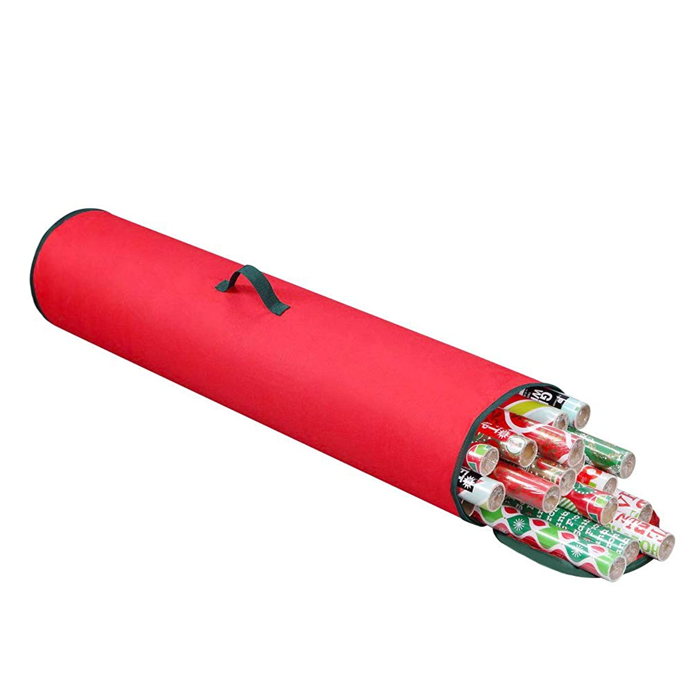 "Primode Gift Wrapping Storage Bag with Handle | Wrapping Paper Tube Bag for Storing Multiple Rolls of Gift Wrap, 40"" Length Constructed of Durable 600D Oxford Material (Red)"