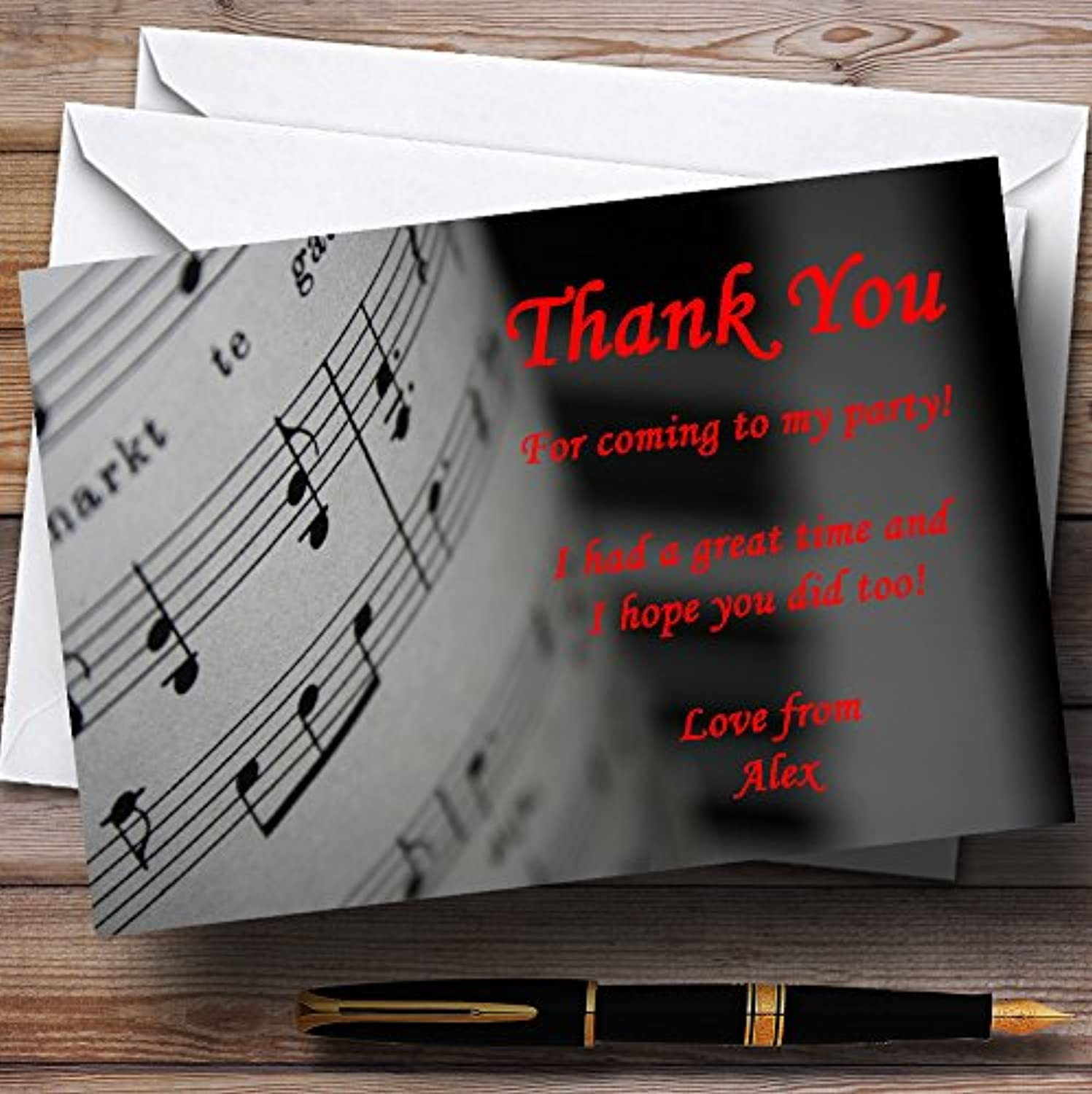 Piano And Music Black Red Personalised Party Thank You Cards