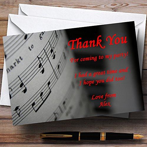 Party Thank You Kaarten Piano En Muziek Zwart Rood Gepersonaliseerde Partij Met Enveloppen - Elke Aangepaste Tekst Voor Elke gelegenheid 100 Cards & Envelopes