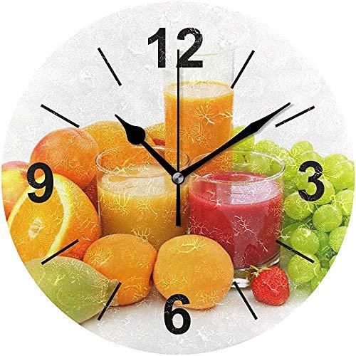L.Fenn Reloj De Pared Tazas De Jugo Redondas Frutas Bayas Montón Diámetro Blanco Silencioso Decorativo para El Hogar Oficina Cocina Dormitorio