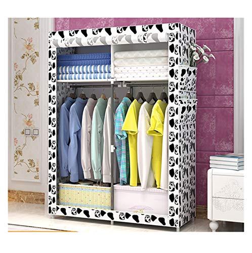 RSBCSHI Wardrobe Portable Closet Organizer Fabric Steel Frame Assembly Locker Dustproof Folding Locker Dormitory Bedroom Household (Color : White)