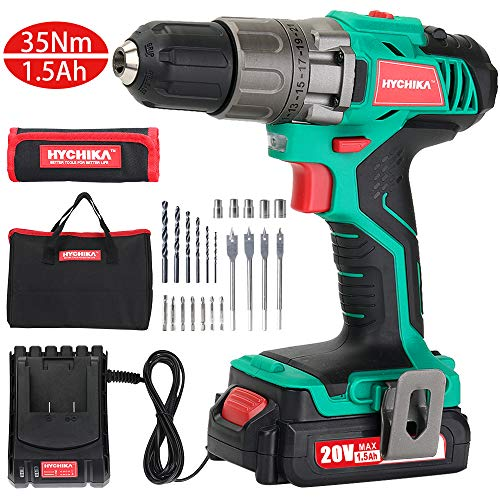 Cordless Drill Driver Kit, HYCHIKA20V Max Drill Set With Lithium-Ion Battery,1H Fast Charging, 21+1 Clutch, 310 In-lb Torque, 2 Variable Speed & Built-in LED for Drilling Wood, Metal and Plastic