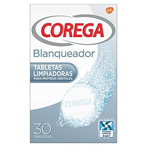 Corega, Blanqueador, Tabletas Limpiadoras para Prótesis Dentales, Elimina las Manchas, 30 Tabletas