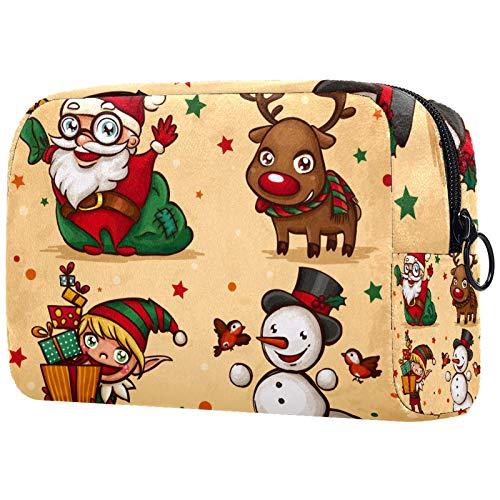 KAMEARI Bolsa de cosméticos Vintage Navidad Santa Claus muñeco de nieve ciervo Alce grande cosmético organizador multifuncional bolsas de viaje