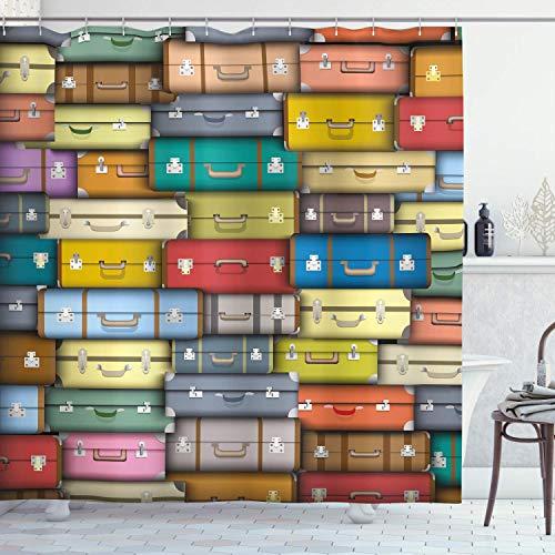 N \ A Cortina de ducha moderna, colorido fondo de maletas vintage Voyage diseño temático de vacaciones, tela de tela para baño con ganchos, 152 x 183 cm, rojo y verde