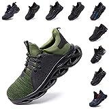 Zapatos De Seguridad Hombre Mujer Ligeros Transpirables Trabajo Punta De Acero Antideslizantes Zapatillas Verde 42 EU