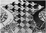 PO-decor Cuadros de Pared MC Escher Relatividad Ilusión óptica Póster Pintura Arte Póster Impresión Decoración para el hogar Imagen Impresión de Pared Decoración 20x30cm sin Marco