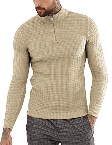 COOFANDY Men's Quarter Zip Sweaters Slim Fit Lightweight Cotton Mock Turtleneck Pullover Khaki