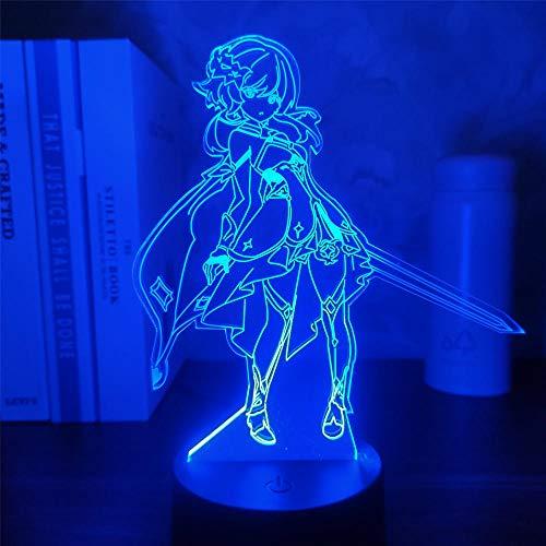 Genshin Impact Lumine 3D Lámpara de juego de ilusión LED Figura de luz nocturna para niños niños dormitorio decoración táctil sensor acrílico mesa regalo 16 colores, control remoto