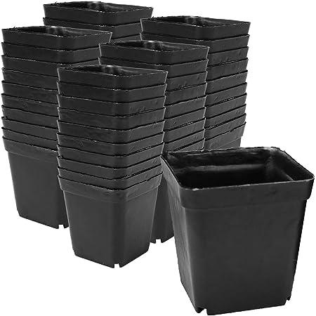 植木鉢 フラワーポット プラスチック製 園芸 家庭菜園 育苗 サボテン 多肉植物 排水穴完備 (50個セット)