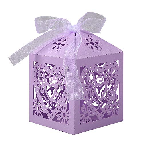 Lucky Monet 25/50/100PCS Love Heart Laser Cut Wedding Candy Gift Box Chocolate Box for Wedding Favor Birthday Party Bridal Shower with Ribbon (100pcs, Lavender)