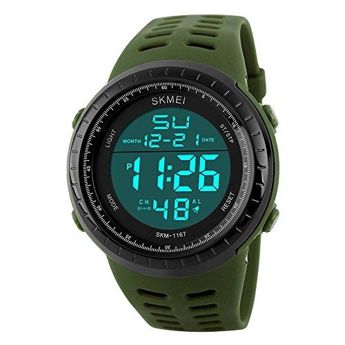 Reloj de pulsera led digital deportivo analógico multifunción resistente al agua hasta 50 metros con cronómetro y alarma para hombre, mujer y niño