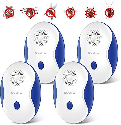 ELUTO 4PCS Repelente Ultrasónico Repelente Ultrasónico Mosquitos 4 Modos de Conversión de Frecuencia con Luces LED Utilizado para Rata Cucarachas Arañas Pulgas Insectos Mosquitos Hormigas