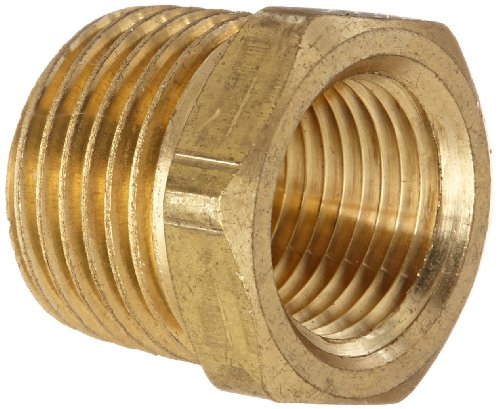 Anderson Metals 56110-0806 Brass Pipe Fitting, Hex Bushing, 1/2 NPT Female Pipe x 3/8 NPT Male Pipe