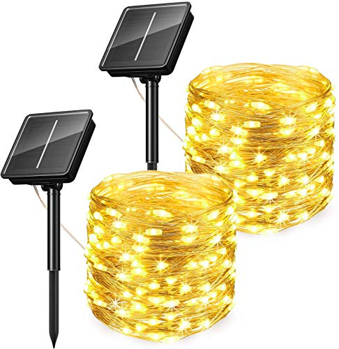[2 Pack] KOOPER Solar String Lights, 100 LED 8 Modes Outdoor Solar Garden Fairy Lights Warm White, 33Ft/10M Waterproof Copper Wire Decoration Lights for Garden, Wedding, Christmas, Party