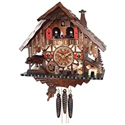 River City Clocks One Day Musical Cuckoo Clock Cottage with Beer Drinker, Waterwheel and Dancers
